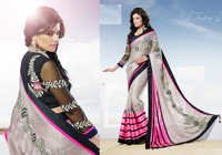 Pink & White shaded Designer embroidery saree