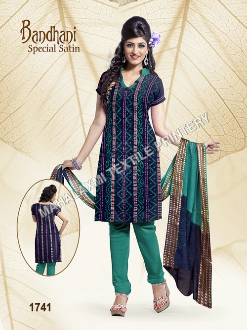 Bandhani Satin Cotton Dress Materials