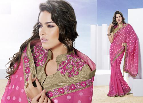 Magical Pink Designer Foil Printed Saree