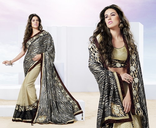 Funky Tiger Printed Sun Beaming Saree