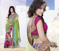 Stunning Firozi & lime green shaded  saree