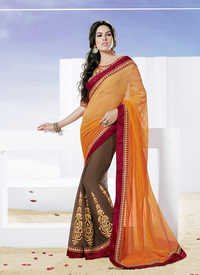 Trendy Brown Orange Shaded Designer Saree