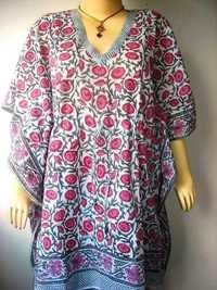 PINK BUTTY PRINT COTTON KAFTAN