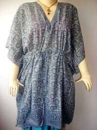 GREY MUGHAL PATTERN COTTON KAFTAN