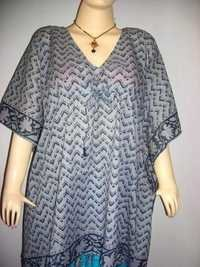 GREY ZIGZAG PATTERN COTTON KAFTAN
