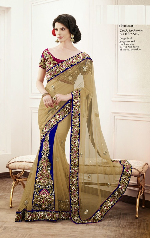 Trendy handworked Net Velvet Saree
