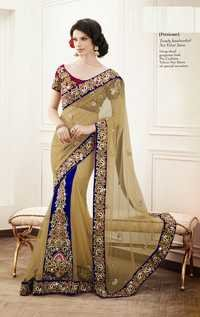 Trendy handworked Net Velvet Saree