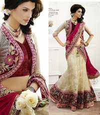 Tusser and Red Gorgeous Floral worked Bridal Lahenga choli