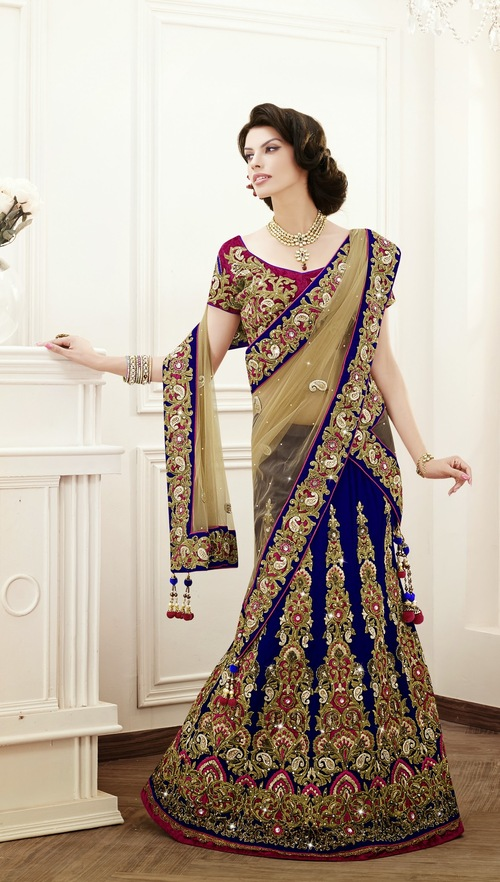 Navy blue designer heavy worked Velvet Lehenga choli