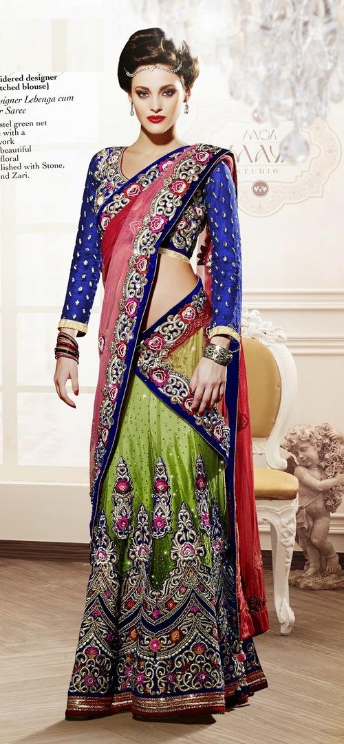 Net Flora Designer Lahenga cum Ready to wear Saree