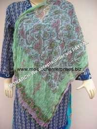 GREEN SHIFFON BLOCK PRINTED STOLE
