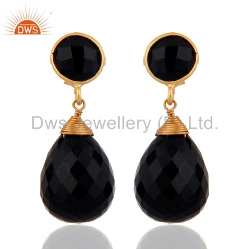 Gold Plated Black Onyx Sterling Silver Earrings