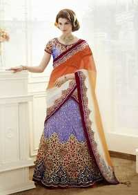 Royal Blue designer floral cutwork Bridal Lehenga Choli