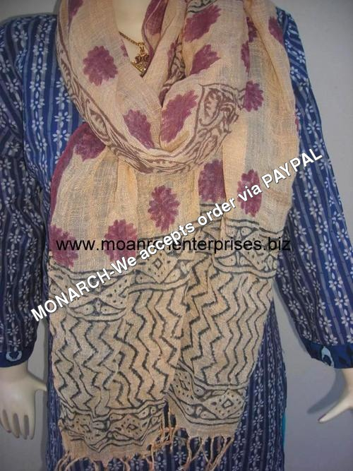 FLOWER HAND BLOCK PRINTED COTTON STOLE