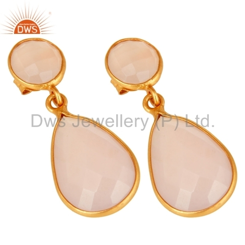 Gold Plated 925 Silver Rose Chalcedony Earrings