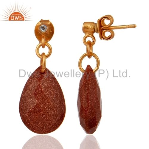 Gold Plated Sterling Silver Earrings With Red Sun Sitara