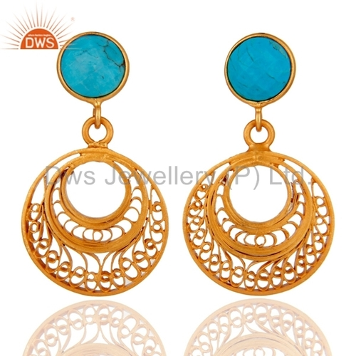 Turquoise Gold Plated Sterling Silver Earrings