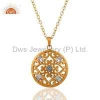 Filigree Design Blue Topaz Fashion Chain Pendant Jewelry