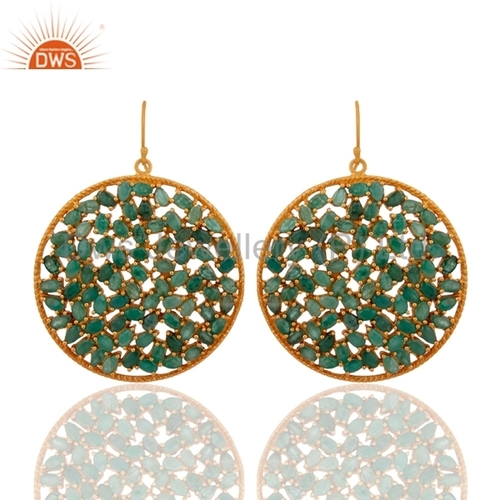 Gold Plated Sterling Silver Emerald Earrings