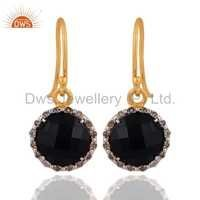 Sterling Silver Diamond Pave Black Onyx Earrings