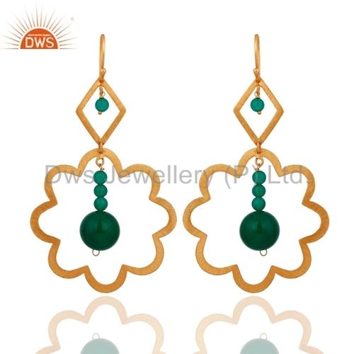 Sterling Silver Green Onyx Earrings