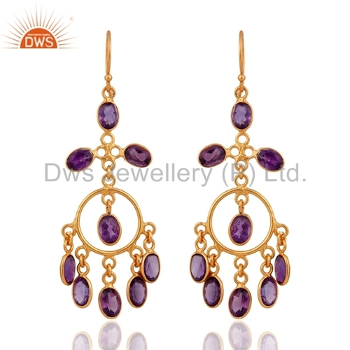 Sterling Silver Gold Plated Amethyst Earrings