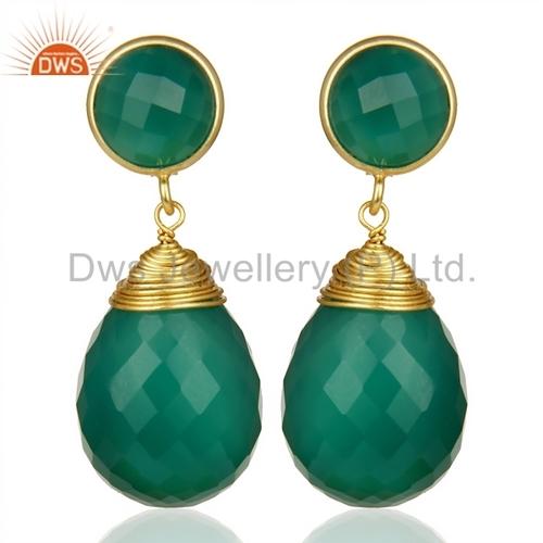 Green Onyx Teardrop Earrings - Gold Plated