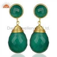 Green Onyx Teardrop Earrings - Gold Plated