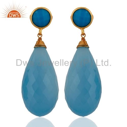 Blue Chalcedony Gemstone Silver Earrings