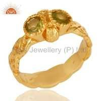 925 Sterling Silver Peridot Ring - Gold Plated