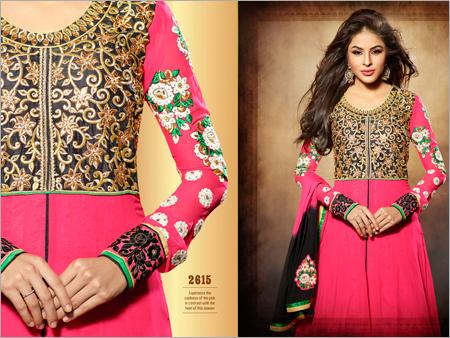 Embroidered Neck Anarkali Suits