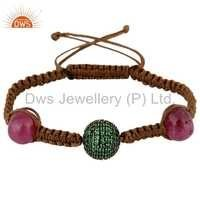 Natural Ruby Shamballa Silver Bracelet