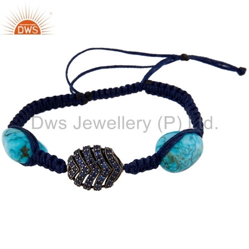 Silver Blue Sapphire Beaded Gemstone Bracelet