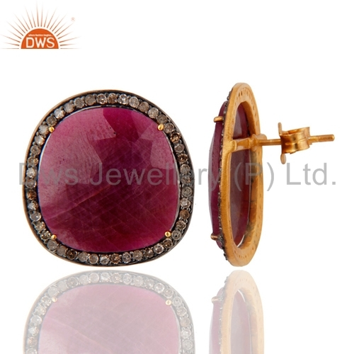 Pave Diamond & Ruby Sterling Silver Earrings