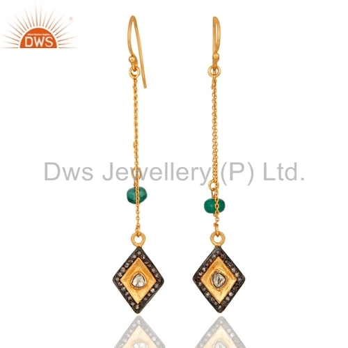 Natural Emerald Diamond Chain Earrings Supplier