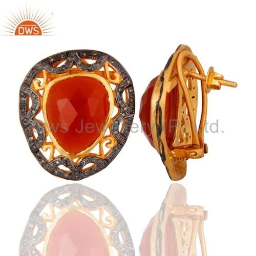 Designer Gemstone Pave Diamond Stud Earring