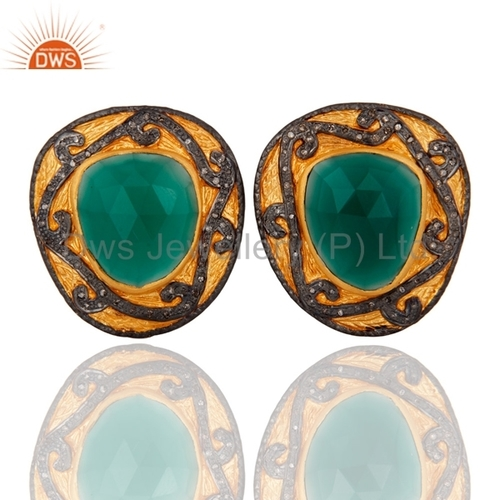Pave Diamond & Green Onyx Earrings