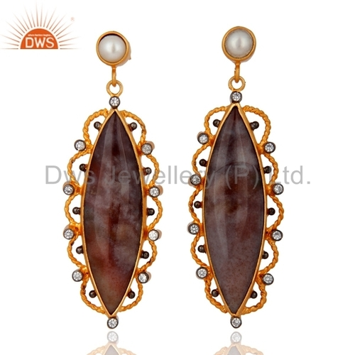 Agate Stone Gold Plated Sterling Silver Earrings