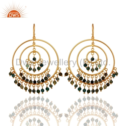 Multi-Colour Tourmaline Sterling Silver Earrings - Gold Plated