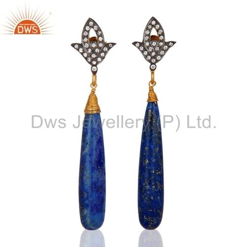Gold Plated Lapis Lazuli & CZ Earrings