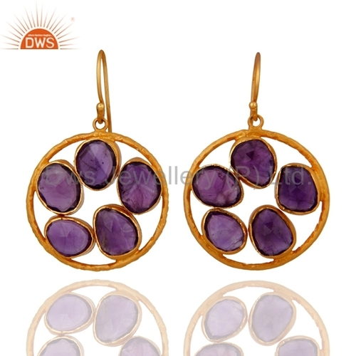 Amethyst Gold Plated Sterling Silver Earrings