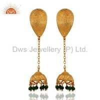925 Silver Gold Plated Jhumka Chain Earrings