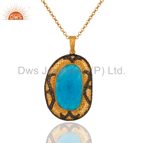 Turquoise Sterling Silver Pendant With Diamond