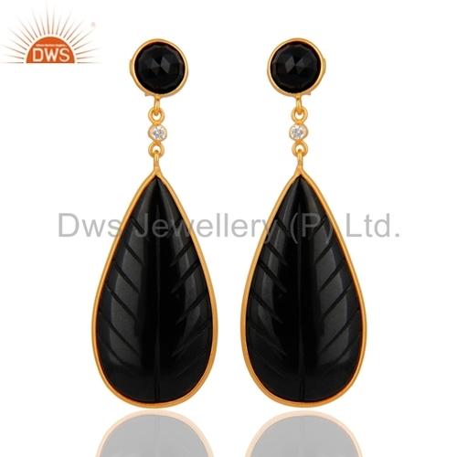 Carved Black Onyx Gemstone Earrings