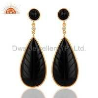 Carved Black Onyx Gemstone Earrings