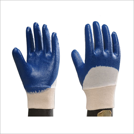 Nitrile Half Dipped Gloves With Knitted Wrist