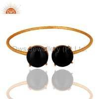 Gold Plated Sterling Silver Black Onyx Bangle