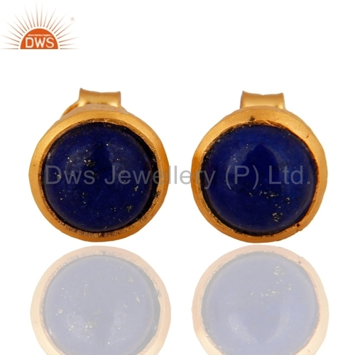 Gold Plated Silver Lapis Lazuli Earrings