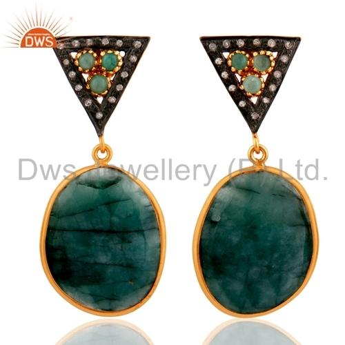 Pave Set Diamond Emerald Earrings Jewelry