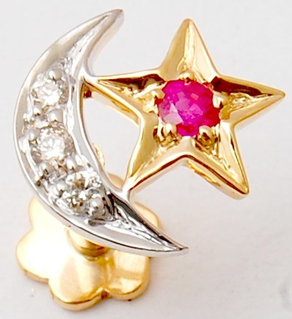 Moon star designer nose pin jewellery